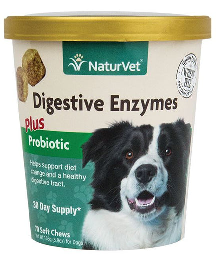 25% OFF: NaturVet Digestive Enzymes Plus Pre & Probiotics Soft Chew Cup 70 count