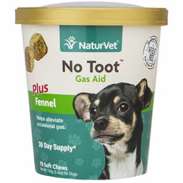 NaturVet No Toot Gas Aid Soft Chews Dog Supplement 70ct