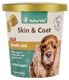 20% OFF: NaturVet Skin & Coat Plus Breath Aid Soft Chew Cup 70 count