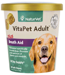 20% OFF: NaturVet VitaPet Adult Plus Breath Aid Soft Chew Cup 60 count