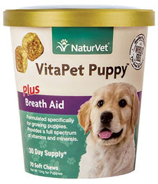 20% OFF: NaturVet VitaPet PUPPY Plus Breath Aid Soft Chew Cup 70 count