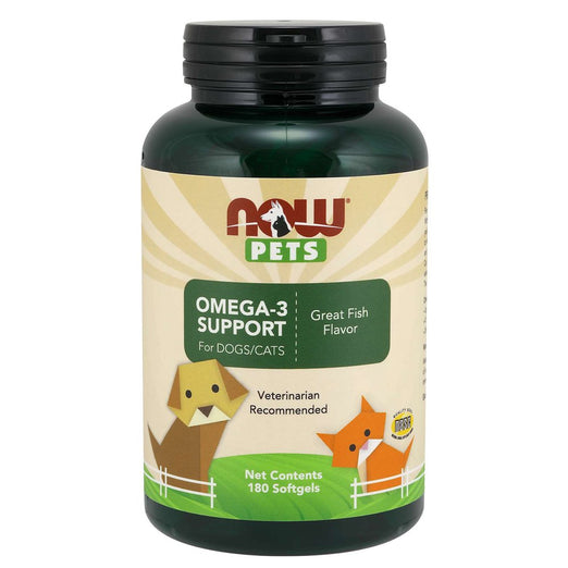 NOW Pets Omega-3 Support Softgel Supplements for Cats & Dogs 180ct
