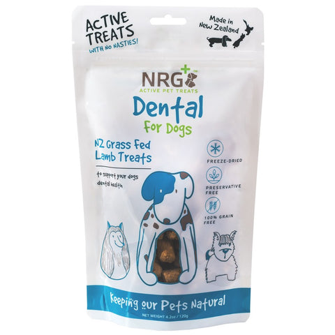 NRG+ Dental NZ Grass Fed Lamb Adult Freeze-Dried Dog Treats 120g - Kohepets