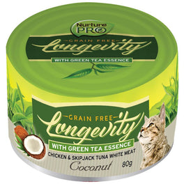 Nurture Pro Longevity Chicken & Skipjack Tuna White Meat With Coconut Canned Cat Food 80g