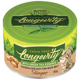 Nurture Pro Longevity Chicken & Skipjack Tuna White Meat With Ginger Canned Cat Food 80g