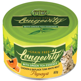 6 FOR $10: Nurture Pro Longevity Chicken & Skipjack Tuna White Meat With Papaya Canned Cat Food 80g (LIMITED TIME)
