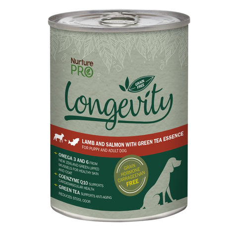 4 FOR $12: Nurture Pro Longevity Lamb & Salmon with Green Tea Essence Grain Free Canned Dog Food 375g