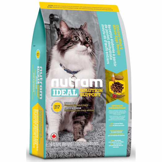 Nutram I17 Ideal Solution Support Indoor Chicken Meal & Whole Eggs Recipe Adult Dry Cat Food 4lb - Kohepets