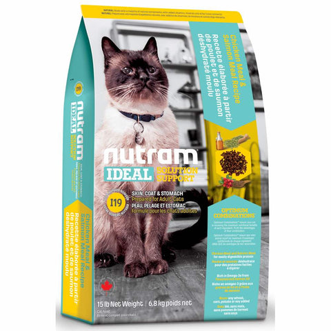 Nutram I19 Ideal Solution Support Chicken Meal & Salmon Meal Recipe Adult Dry Cat Food