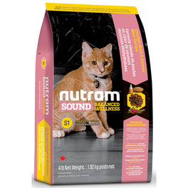 Nutram S1 Sound Balanced Wellness Chicken Meal & Salmon Meal Recipe Kitten Dry Cat Food 4lb