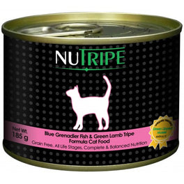 65% OFF: Nutripe Classic Blue Grenadier & Green Tripe Canned Cat Food 185g (Exp 25 Oct 19)