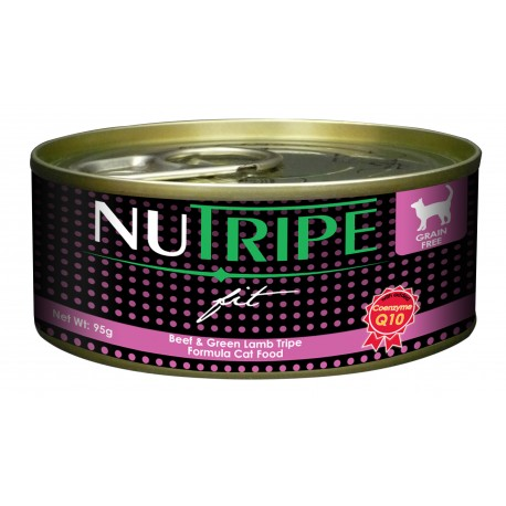 24 CANS FOR $18 (Exp 4 May): Nutripe Fit Beef & Green Lamb Tripe Canned Cat Food 95g