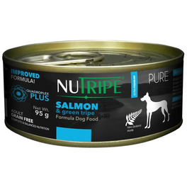 'FREE WITH MIN $120': Nutripe Pure Salmon & Green Tripe Canned Dog Food 95g