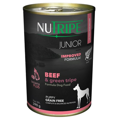 10% OFF: Nutripe JUNIOR Beef & Green Tripe Canned Dog Food 390g - Kohepets