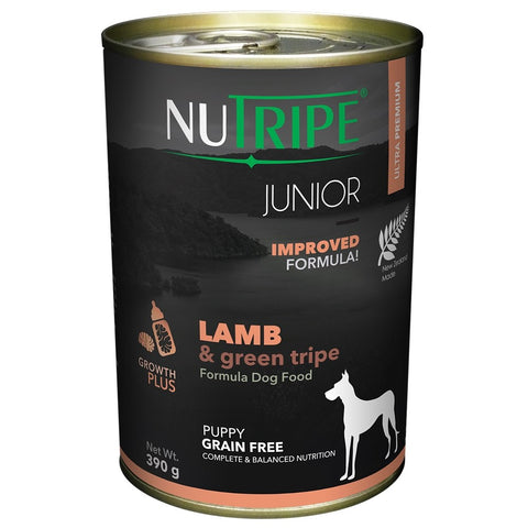 10% OFF: Nutripe JUNIOR Lamb & Green Tripe Canned Dog Food 390g - Kohepets