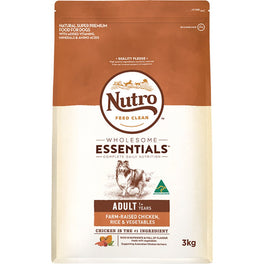 'FREE GREENIES': Nutro Wholesome Essentials Chicken, Rice & Vegetables Adult Dry Dog Food 3kg