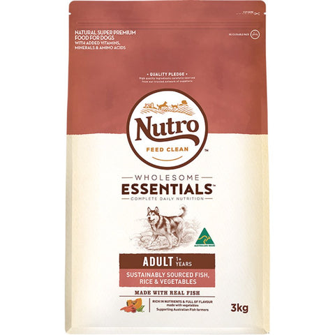 Nutro Wholesome Essentials Sustainably Sourced Fish, Rice & Vegetables Adult Dry Dog Food - Kohepets
