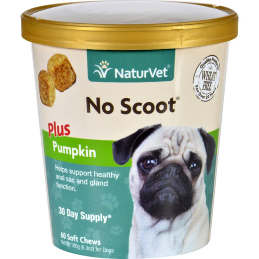 20% OFF: NaturVet No Scoot for Dogs Plus Pumpkin Soft Chew Cup 60 count - Kohepets