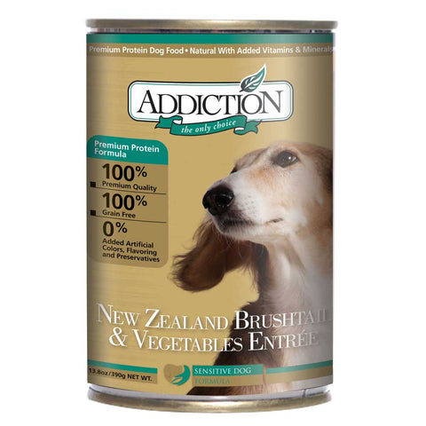 Addiction New Zealand Brushtail & Vegetables Entree Canned Dog Food 390g