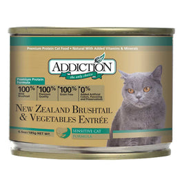 Addiction New Zealand Brushtail & Vegetables Entree Canned Cat Food 185g