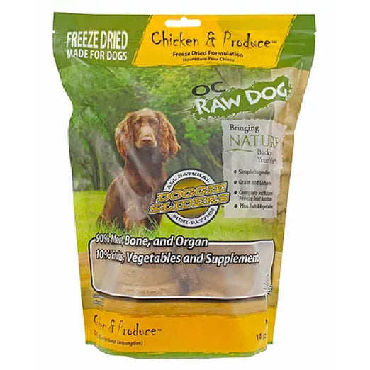 'SAVE $6.10': OC Raw Dog Chicken & Produce Sliders Freeze Dried Dog Food 14oz - Kohepets