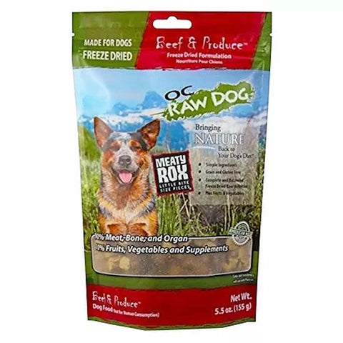 3 FOR $54: OC Raw Dog Meaty Rox Beef & Produce Freeze Dried Dog Food Topper 5.5oz - Kohepets