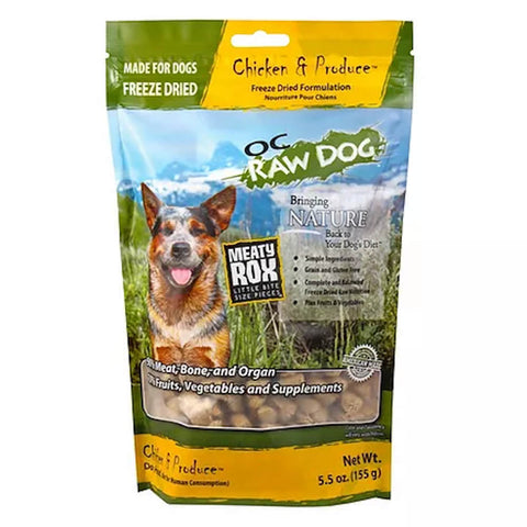 3 FOR $54: OC Raw Dog Meaty Rox Chicken & Produce Freeze Dried Dog Food Topper 5.5oz (11 TO 30 NOV) - Kohepets