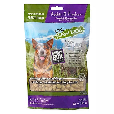 2 FOR $54: OC Raw Dog Meaty Rox Rabbit & Produce Freeze Dried Dog Food Topper 5.5oz (11 TO 30 NOV) - Kohepets