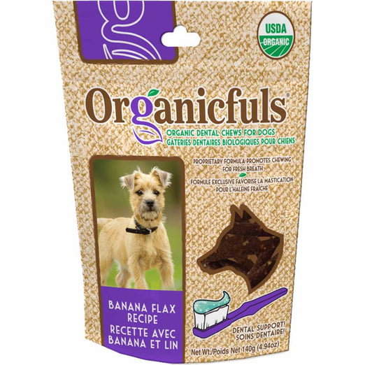 Organicfuls Banana Flax Recipe Organic Dental Chew Dog Treats 140g