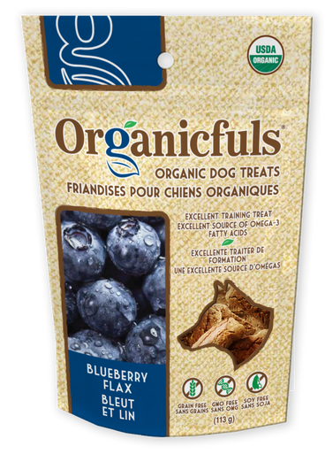 Organicfuls Blueberry Flax Organic Dog Treats 113g - Kohepets