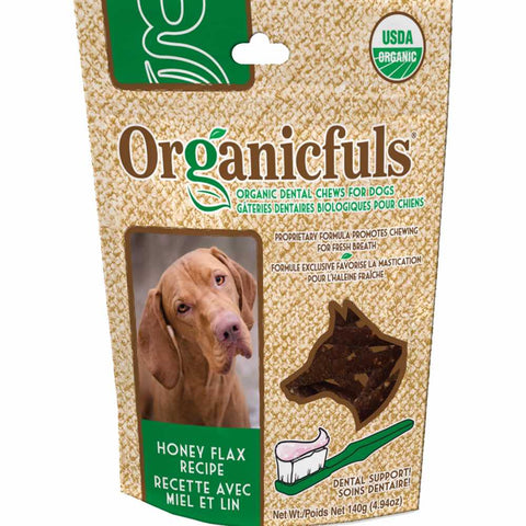 Organicfuls Honey Flax Recipe Organic Dental Chew Dog Treats 140g - Kohepets