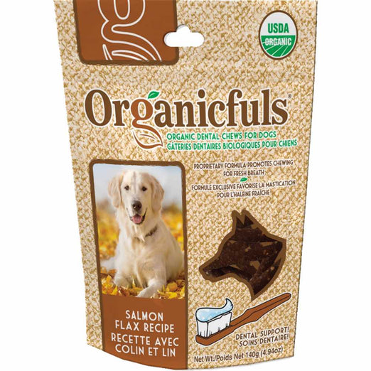 Organicfuls Salmon Flax Recipe Organic Dental Chew Dog Treats 140g - Kohepets