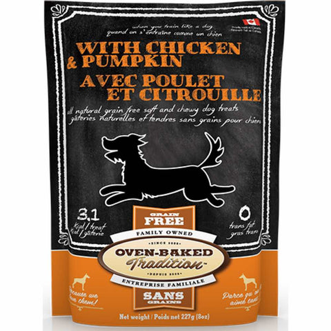 Oven-Baked Tradition Chicken & Pumpkin Grain Free Dog Treats 227g - Kohepets