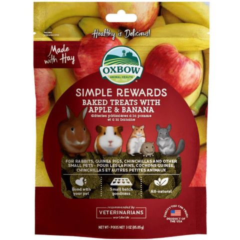 2 FOR $15.90: Oxbow Simple Rewards Baked Treats With Apple & Banana For Small Animals 85g