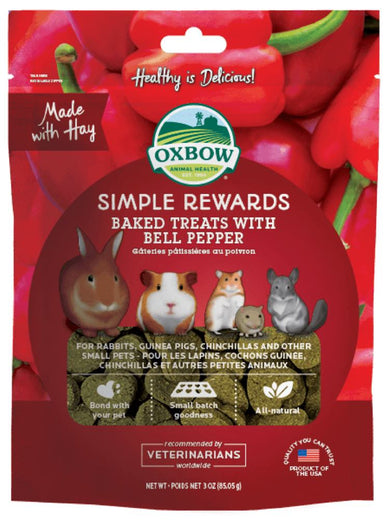 Oxbow Simple Rewards Baked Treats With Bell Pepper For Small Animals 85g