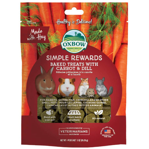 Oxbow Simple Rewards Baked Treats With Carrot & Dill For Small Animals 85g