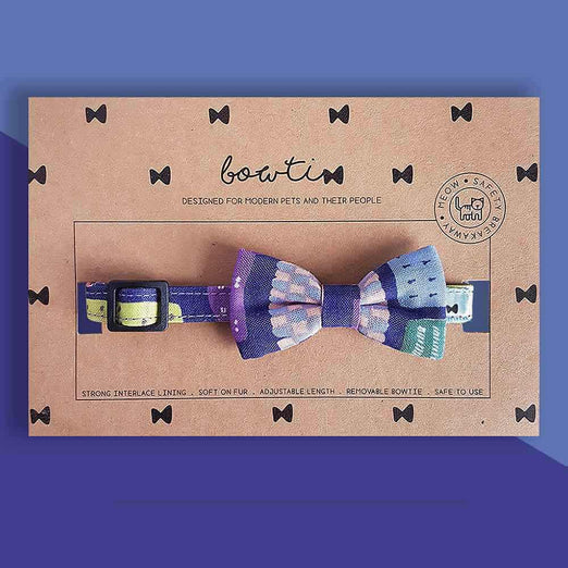 Bowtix Handmade Dog Collar With Removable Bowtie - Pelto Night
