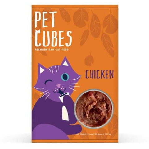 PetCubes Chicken Frozen Raw Cat Food 1kg - Kohepets