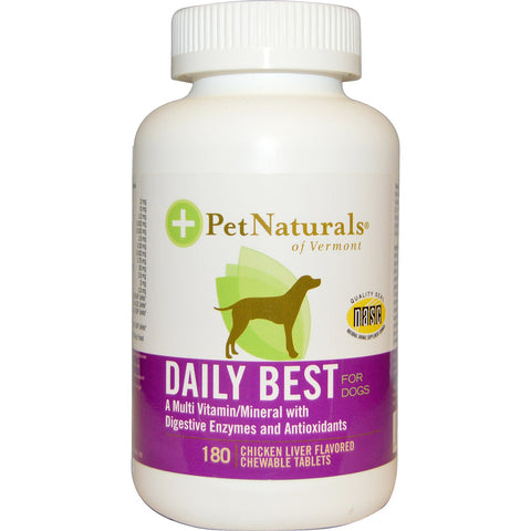 Pet Naturals of Vermont Daily Best Complete Multi-Vitamin Mineral For Dogs - Chicken Liver Flavored 180 Tablets - Kohepets