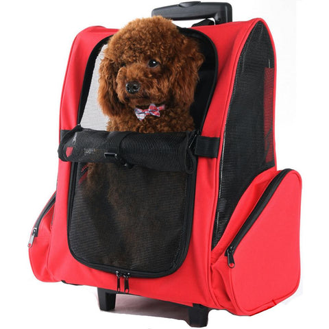 Petcomer Trolley Backpack Pet Carrier