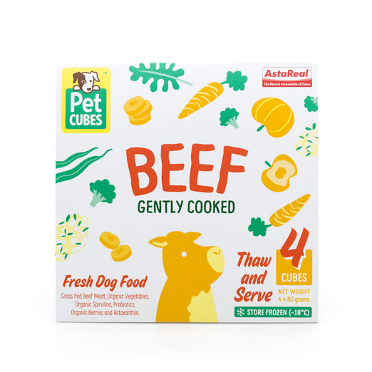 PetCubes Complete Beef Gently Cooked Frozen Dog Food 2.25kg - Kohepets