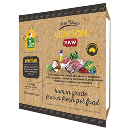 PetCubes Premium Raw Venison Frozen Dog Food 2.25kg