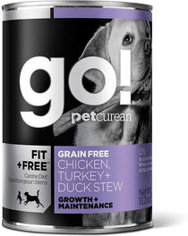 18% OFF: GO! Fit + Free Grain-Free Chicken, Turkey & Duck Stew Canned Dog Food 374g