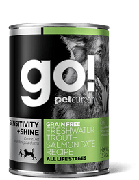 GO! Sensitivity + Shine Grain-Free Freshwater Trout & Salmon Pâté Recipe Canned Dog Food 374g