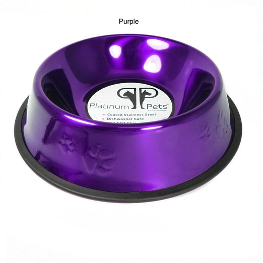 Platinum Pets Stainless Steel Embossed Non-Tip Dog Bowl 3 Cups - Kohepets