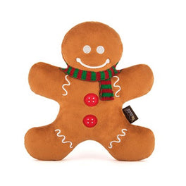 PLAY Holiday Classic Holly Jolly Gingerbread Man Plush Dog Toy
