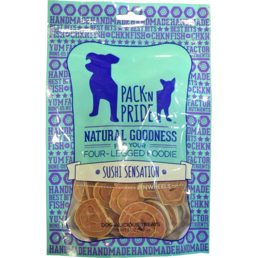 BUY 2 GET 1 FREE: Pack 'N Pride Sushi Sensation Pinwheels Dog Treats 142g - Kohepets