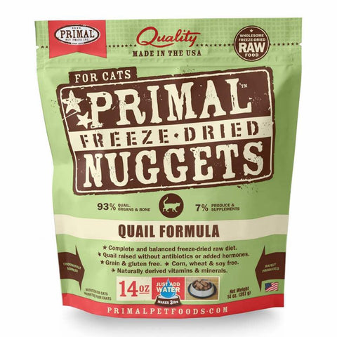 Primal Freeze Dried Feline Quail Formula Raw Cat Food 14oz - Kohepets