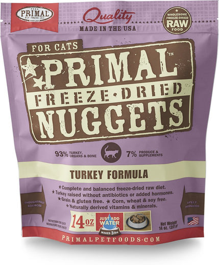 'BUNDLE DEAL: Primal Freeze Dried Feline Turkey Formula Cat Food 14oz - Kohepets