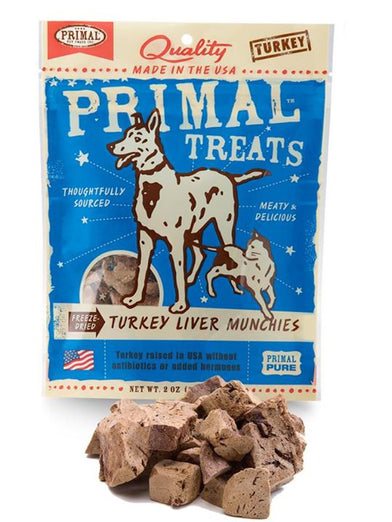 Primal Freeze Dried Turkey Liver Munchies Dog & Cat Treat 2oz